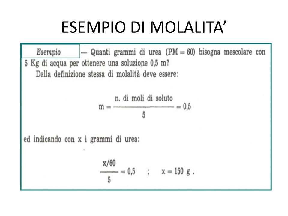 ESEMPIO DI MOLALITA'