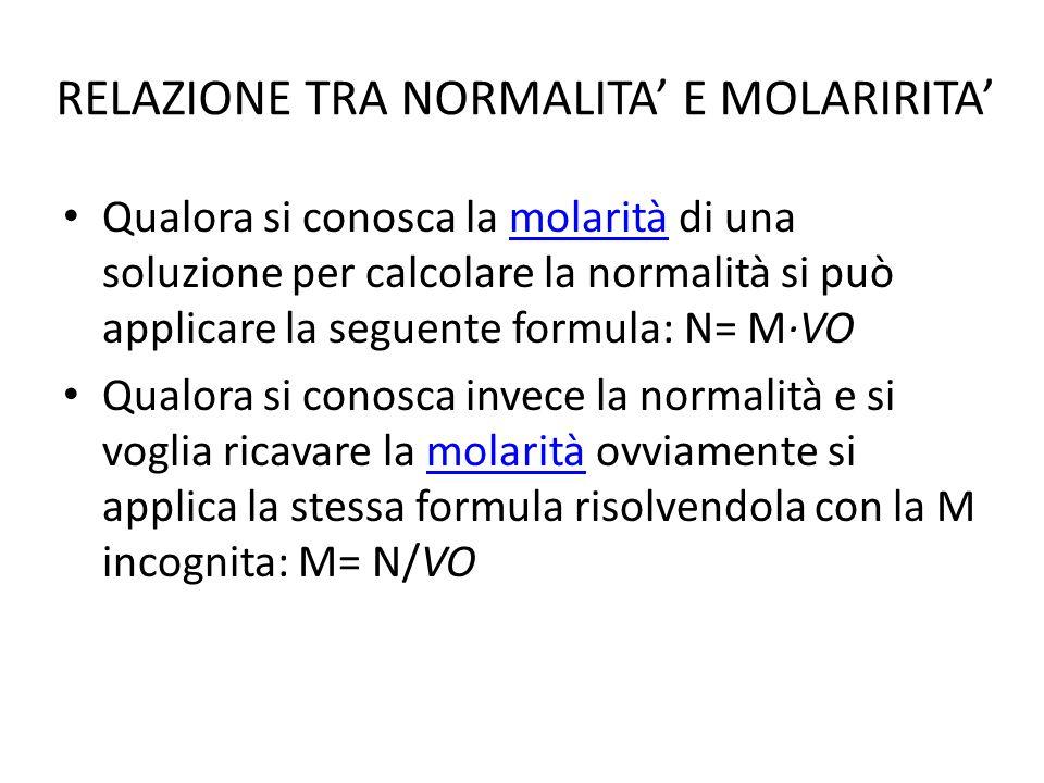 RELAZIONE TRA NORMALITA' E MOLARIRITA'