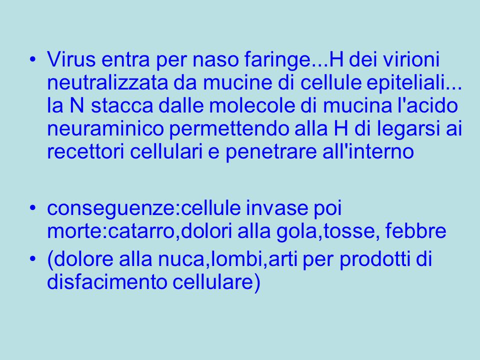 Virus entra per naso faringe