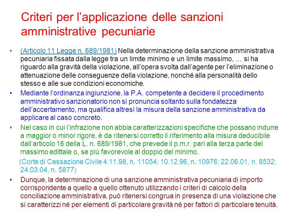 Criteri per l'applicazione delle sanzioni amministrative pecuniarie