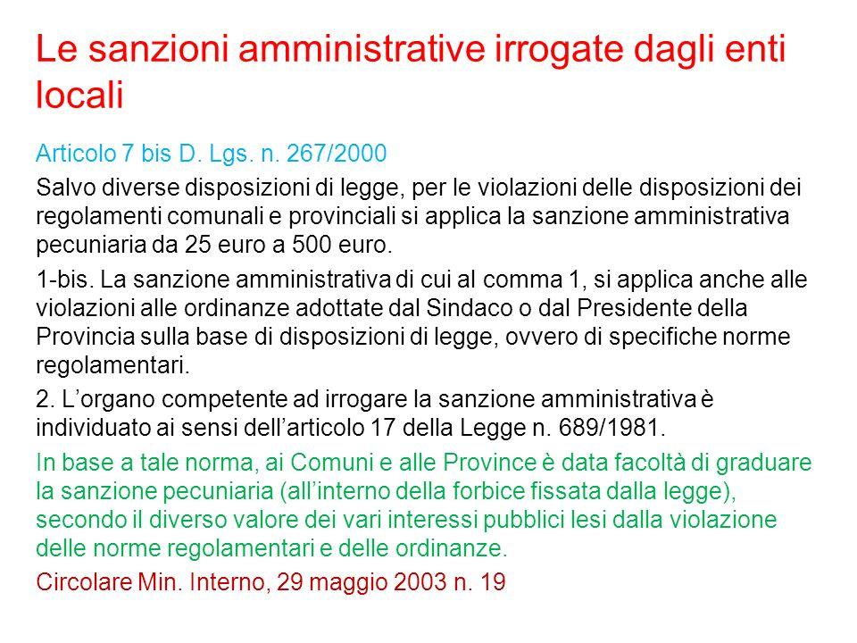 Le sanzioni amministrative irrogate dagli enti locali