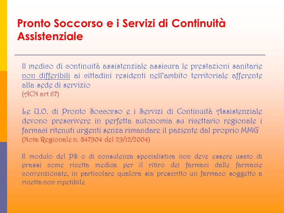 Pronto Soccorso e i Servizi di Continuità Assistenziale