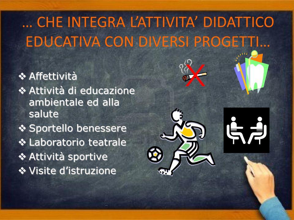 … CHE INTEGRA L'ATTIVITA' DIDATTICO EDUCATIVA CON DIVERSI PROGETTI…