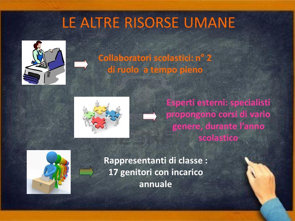 LE ALTRE RISORSE UMANE Collaboratori scolastici: n° 2 di ruolo a tempo pieno.