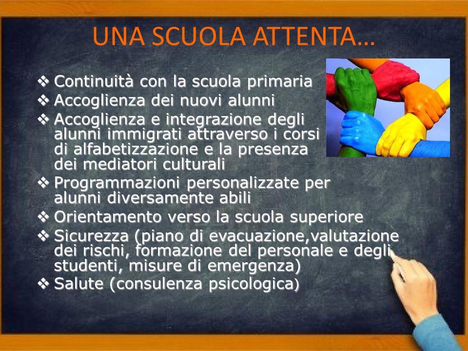 UNA SCUOLA ATTENTA… Continuità con la scuola primaria