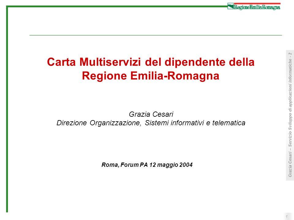 Carta Multiservizi del dipendente della Regione Emilia-Romagna Grazia Cesari Direzione Organizzazione, Sistemi informativi e telematica