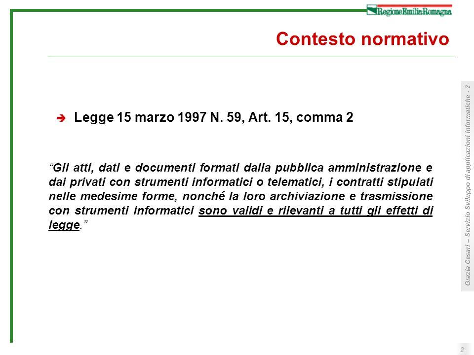 Contesto normativo Legge 15 marzo 1997 N. 59, Art. 15, comma 2