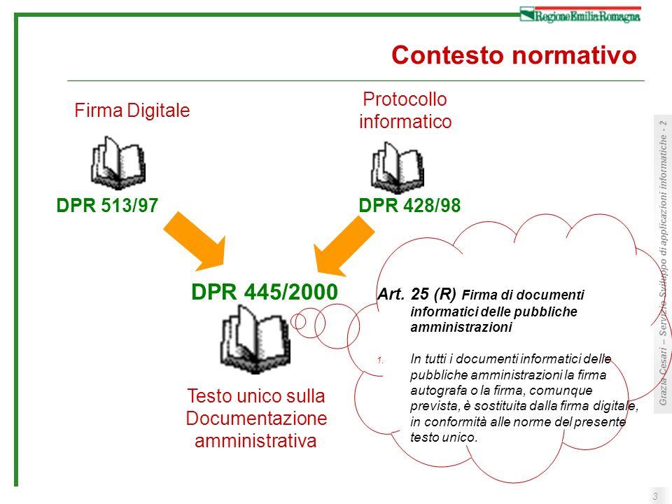 Contesto normativo DPR 445/2000 Protocollo informatico Firma Digitale