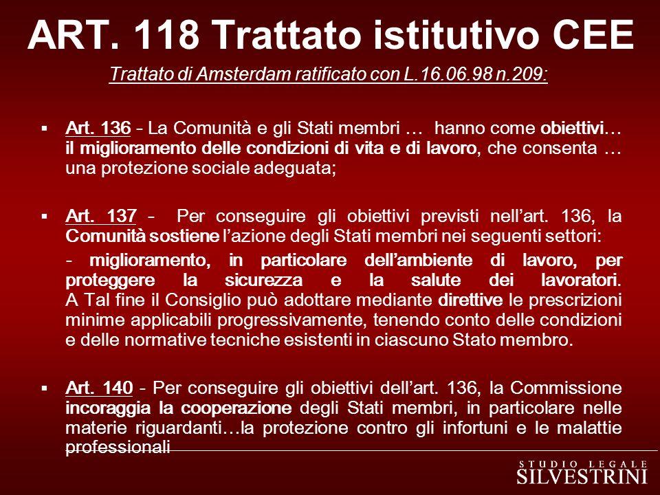 ART. 118 Trattato istitutivo CEE Trattato di Amsterdam ratificato con L.16.06.98 n.209: