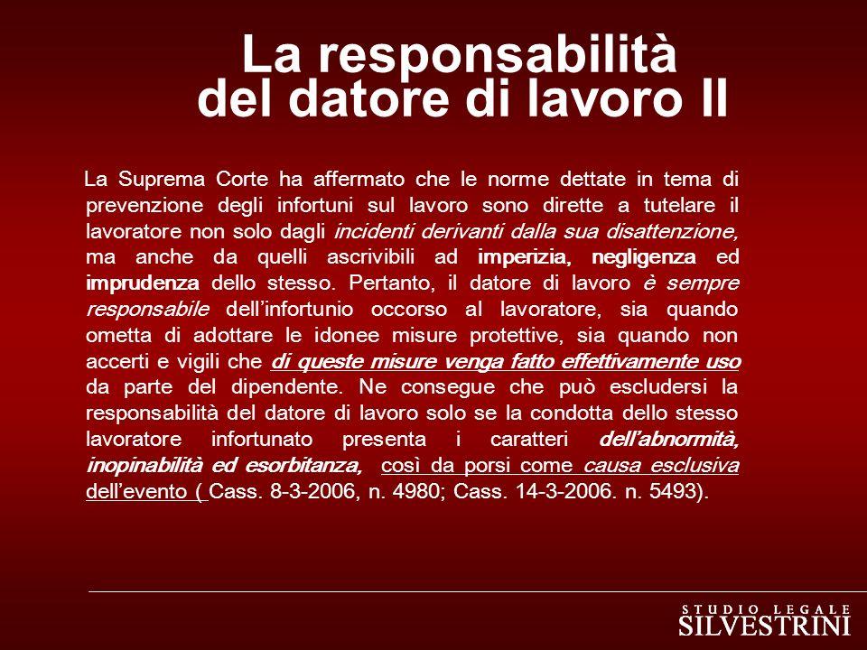 La responsabilità del datore di lavoro II