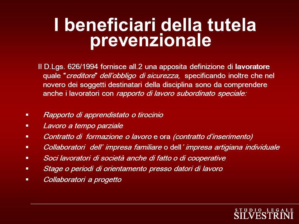 I beneficiari della tutela prevenzionale
