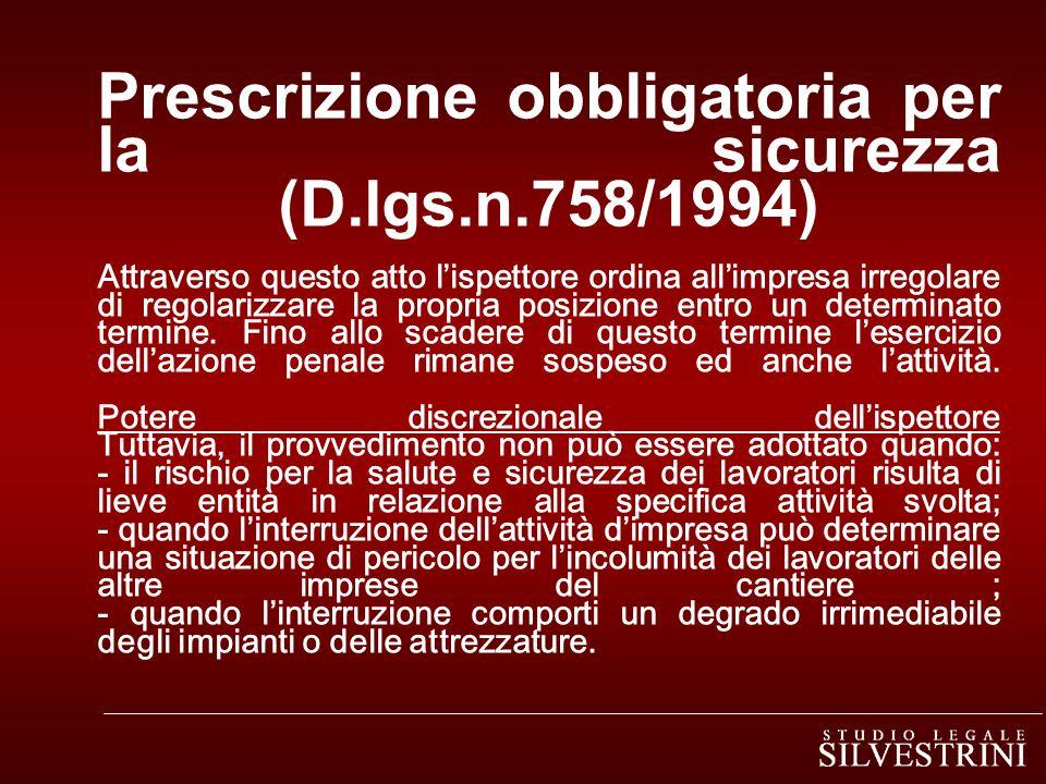 Prescrizione obbligatoria per la sicurezza (D. lgs. n