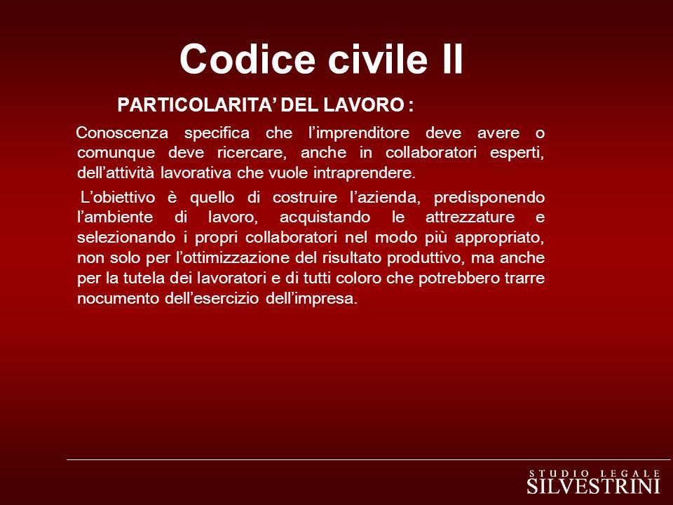 Codice civile II PARTICOLARITA' DEL LAVORO :