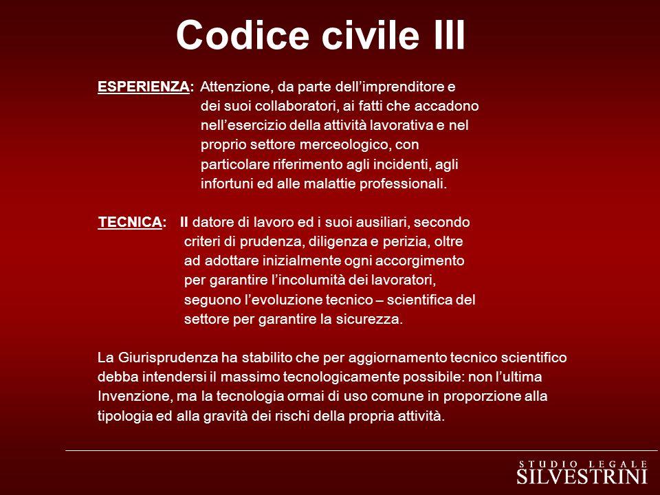 Codice civile III ESPERIENZA: Attenzione, da parte dell'imprenditore e