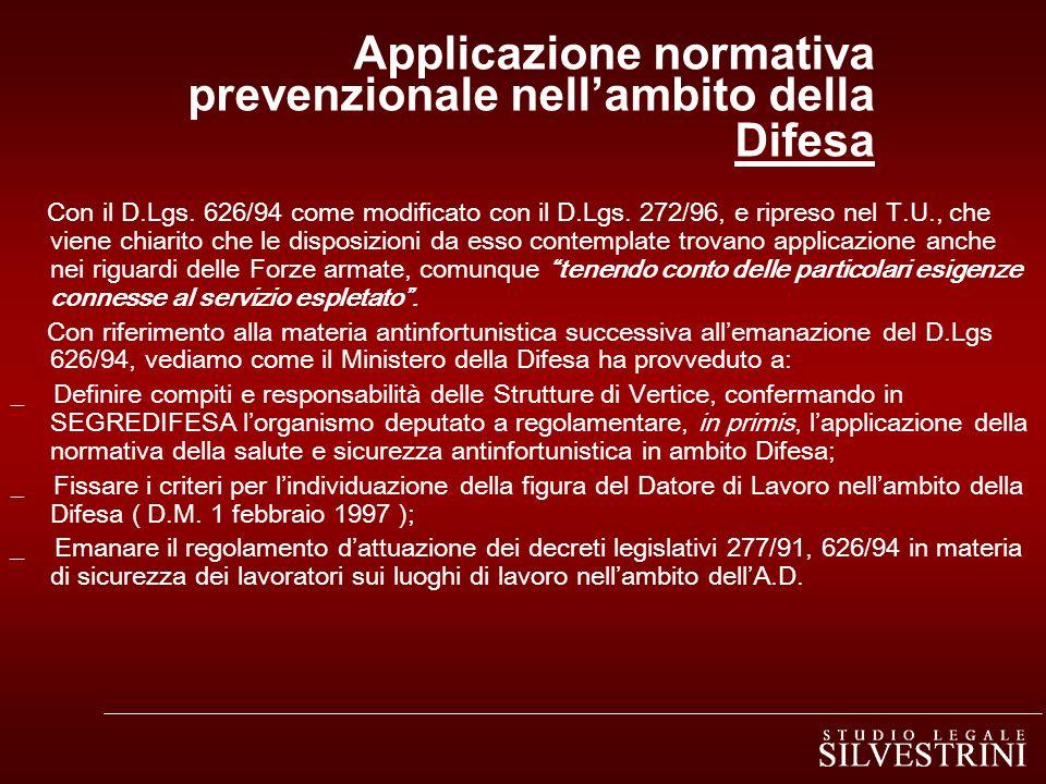Applicazione normativa prevenzionale nell'ambito della Difesa