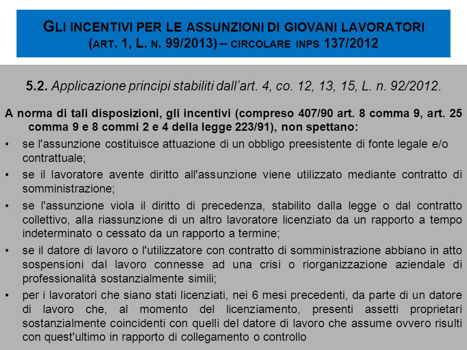 Gli incentivi per le assunzioni di giovani lavoratori (art. 1, L. n