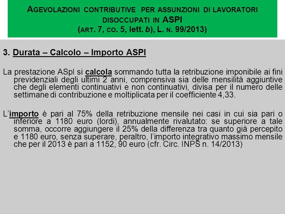 3. Durata – Calcolo – Importo ASPI