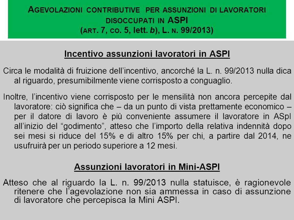Incentivo assunzioni lavoratori in ASPI