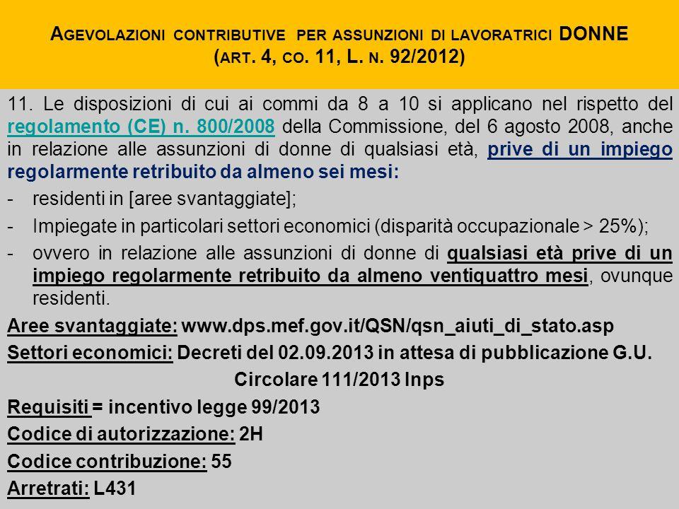 Agevolazioni contributive per assunzioni di lavoratrici DONNE (art