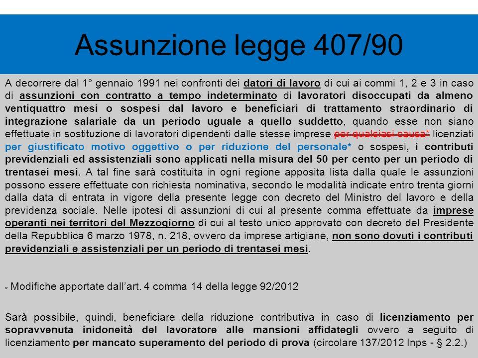 Assunzione legge 407/90