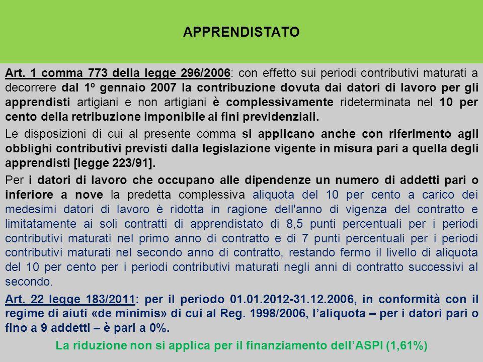 La riduzione non si applica per il finanziamento dell'ASPI (1,61%)