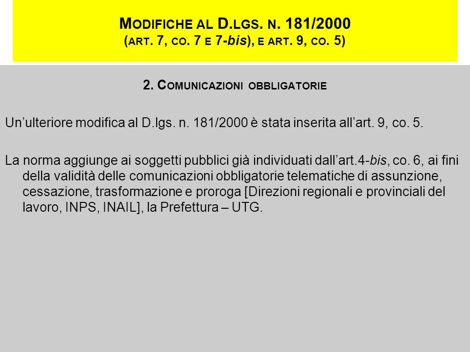 2. Comunicazioni obbligatorie