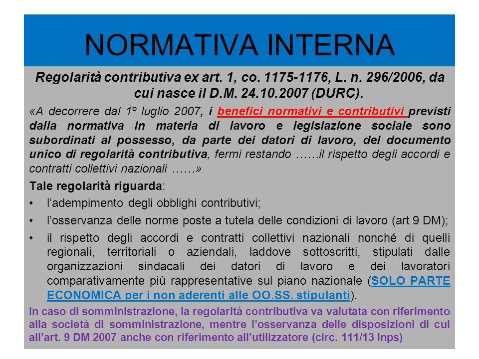 NORMATIVA INTERNA Regolarità contributiva ex art. 1, co. 1175-1176, L. n. 296/2006, da cui nasce il D.M. 24.10.2007 (DURC).