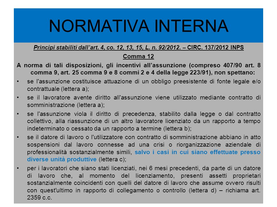 NORMATIVA INTERNA Comma 12