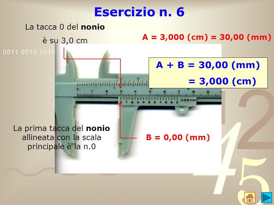La prima tacca del nonio allineata con la scala principale è la n.0