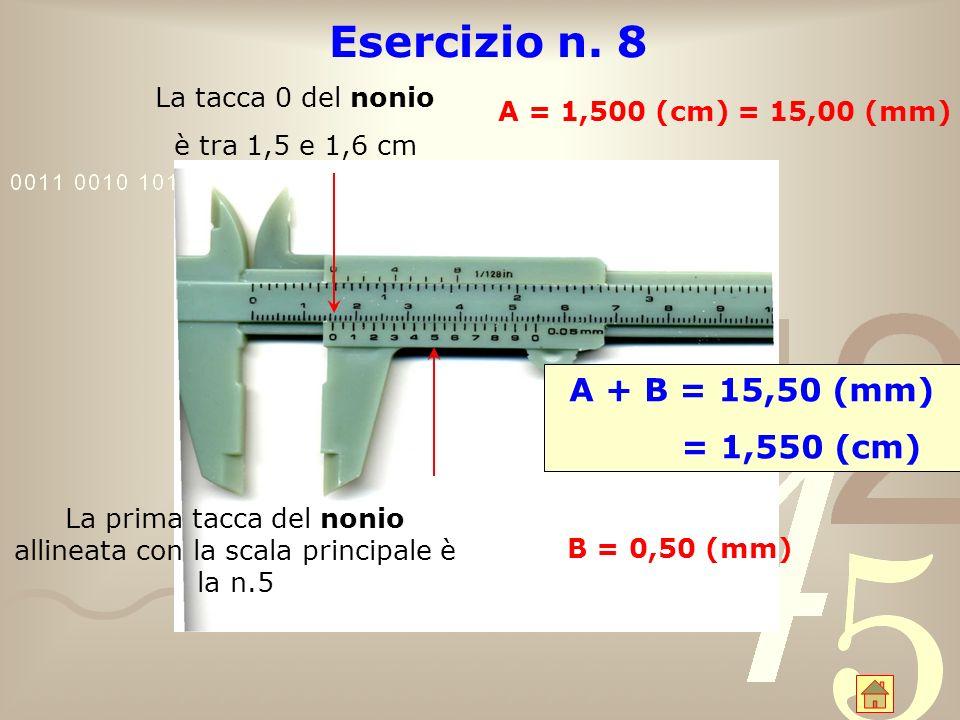 La prima tacca del nonio allineata con la scala principale è la n.5