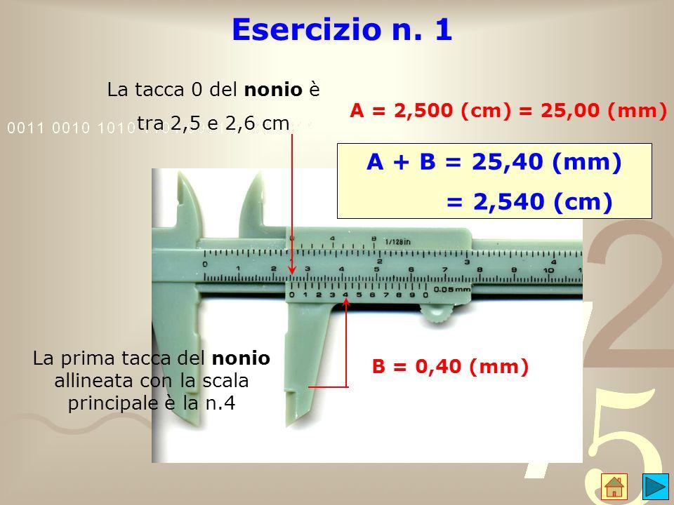 La prima tacca del nonio allineata con la scala principale è la n.4