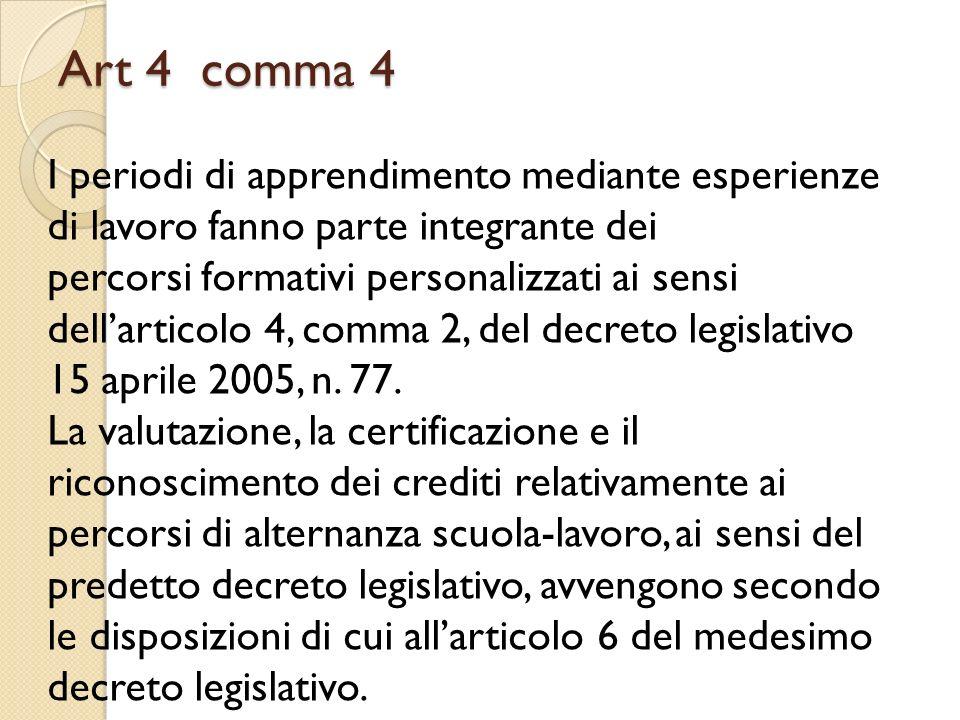 Art 4 comma 4 I periodi di apprendimento mediante esperienze di lavoro fanno parte integrante dei.