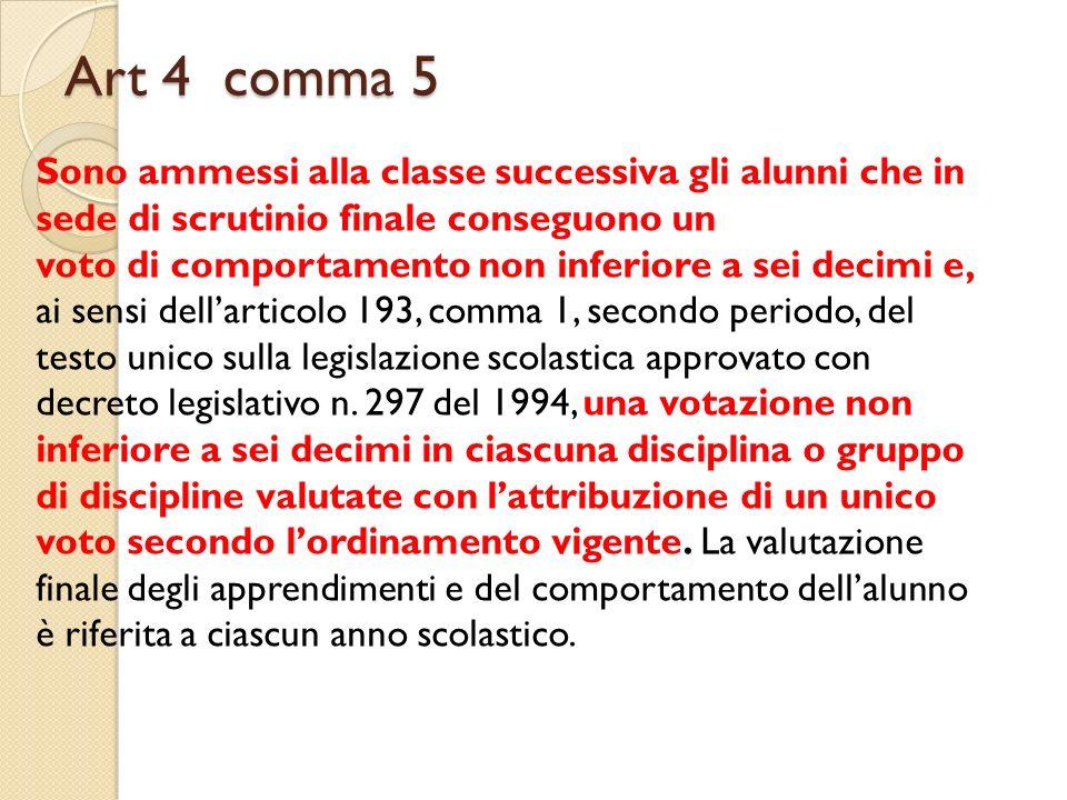 Art 4 comma 5 Sono ammessi alla classe successiva gli alunni che in sede di scrutinio finale conseguono un.
