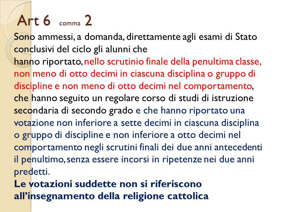 Art 6 comma 2 Sono ammessi, a domanda, direttamente agli esami di Stato conclusivi del ciclo gli alunni che.
