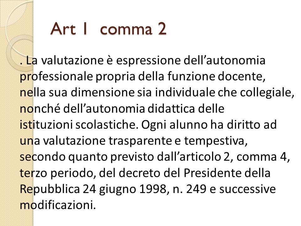 Art 1 comma 2 . La valutazione è espressione dell'autonomia professionale propria della funzione docente,