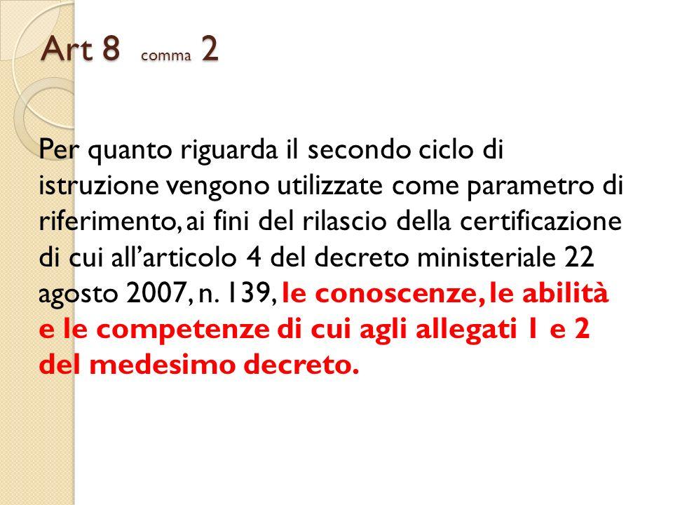 Art 8 comma 2 Per quanto riguarda il secondo ciclo di istruzione vengono utilizzate come parametro di.