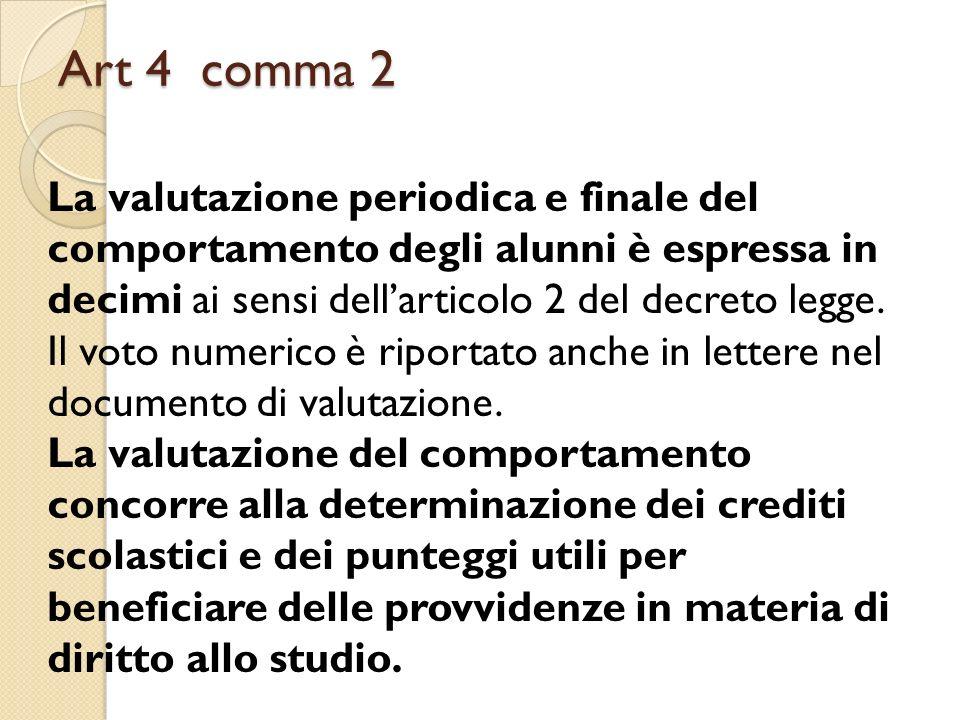 Art 4 comma 2 La valutazione periodica e finale del comportamento degli alunni è espressa in decimi ai sensi dell'articolo 2 del decreto legge.