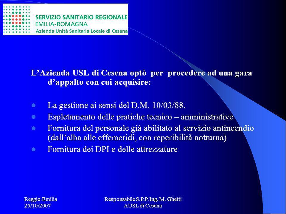 Responsabile S.P.P. Ing. M. Ghetti AUSL di Cesena