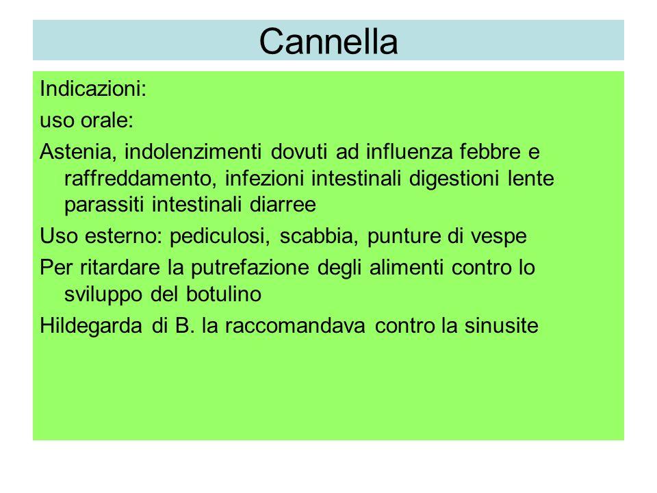 Cannella Indicazioni: uso orale:
