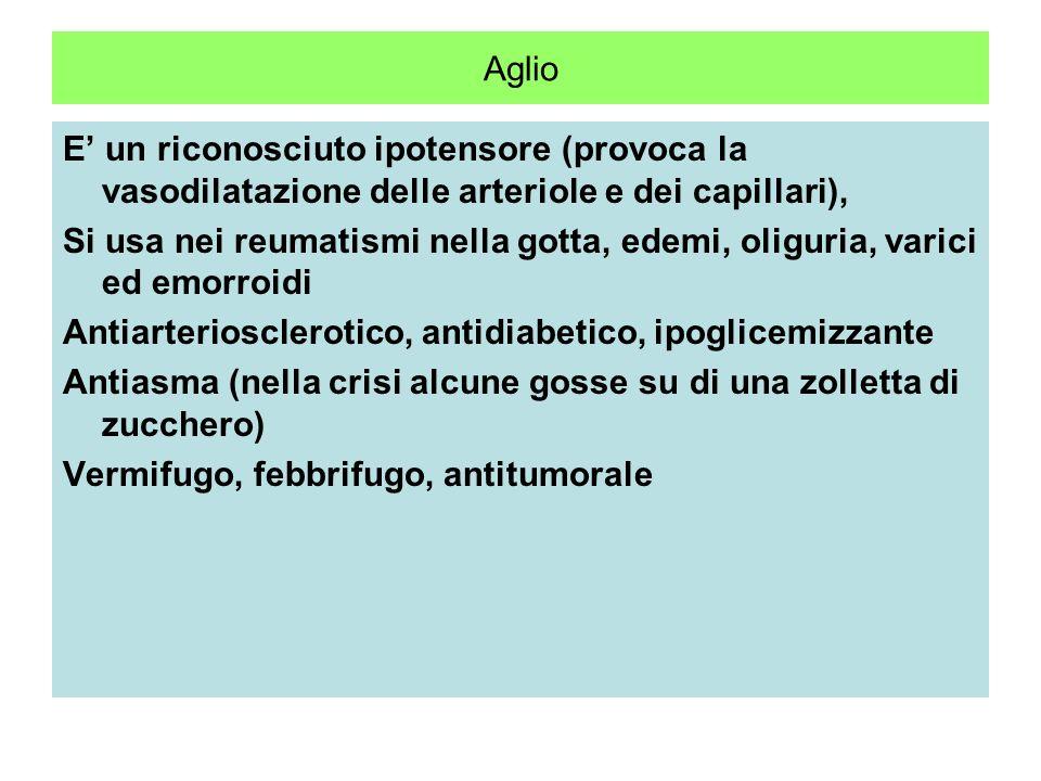 Aglio E' un riconosciuto ipotensore (provoca la vasodilatazione delle arteriole e dei capillari),
