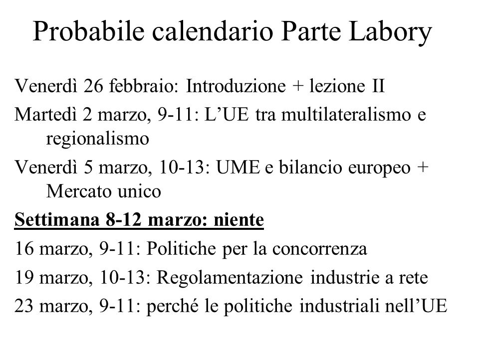 Probabile calendario Parte Labory