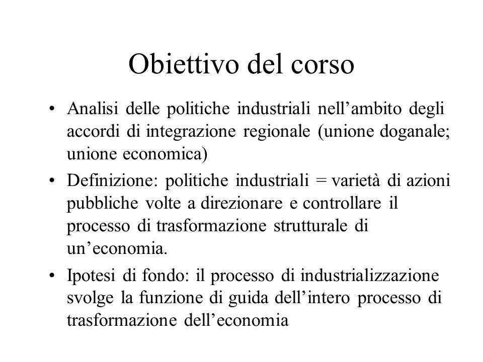 Obiettivo del corso Analisi delle politiche industriali nell'ambito degli accordi di integrazione regionale (unione doganale; unione economica)