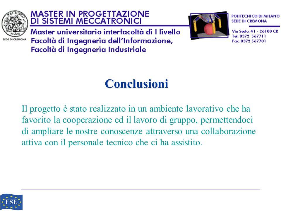 Conclusioni Il progetto è stato realizzato in un ambiente lavorativo che ha. favorito la cooperazione ed il lavoro di gruppo, permettendoci.