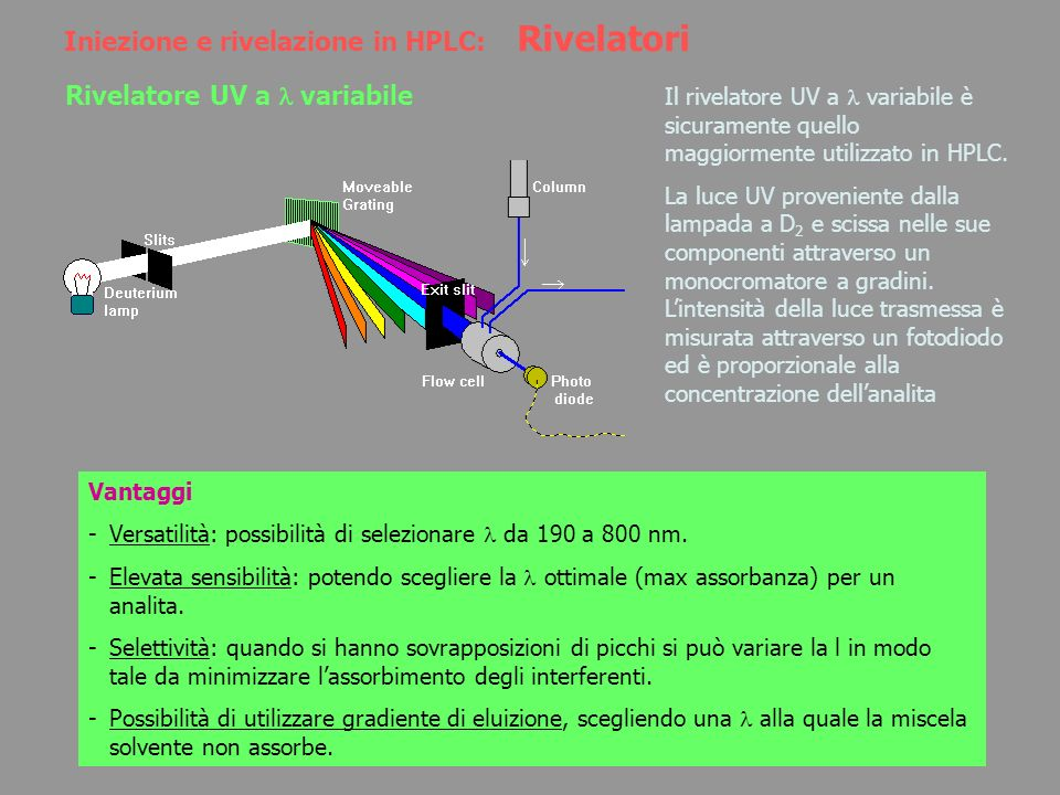Iniezione e rivelazione in HPLC: Rivelatori