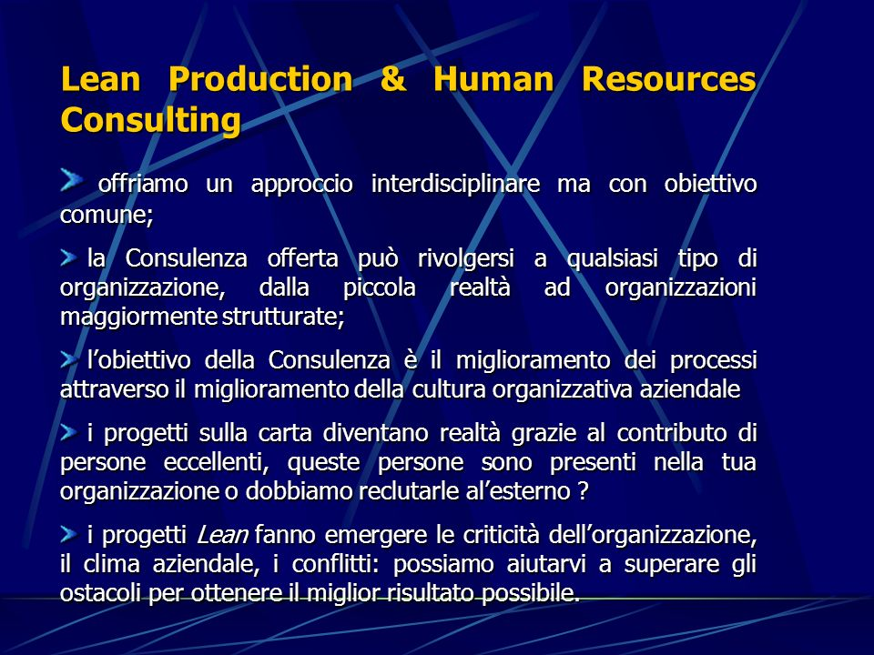 Lean Production & Human Resources Consulting