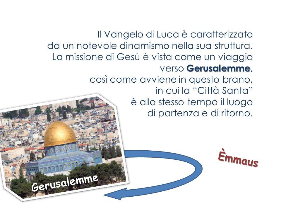 Il Vangelo di Luca è caratterizzato da un notevole dinamismo nella sua struttura. La missione di Gesù è vista come un viaggio verso Gerusalemme, così come avviene in questo brano, in cui la Città Santa è allo stesso tempo il luogo di partenza e di ritorno.