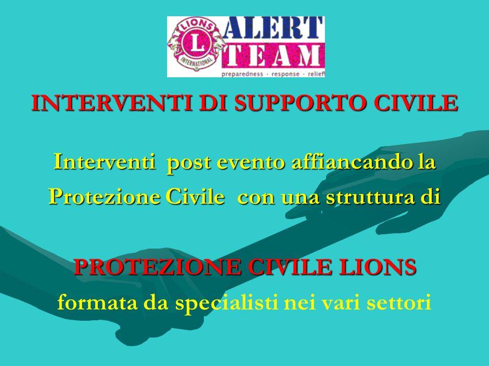 INTERVENTI DI SUPPORTO CIVILE Interventi post evento affiancando la