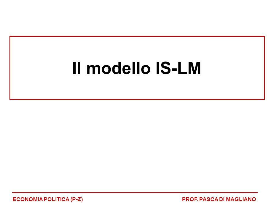 Il modello IS-LM ECONOMIA POLITICA (P-Z) PROF. PASCA DI MAGLIANO