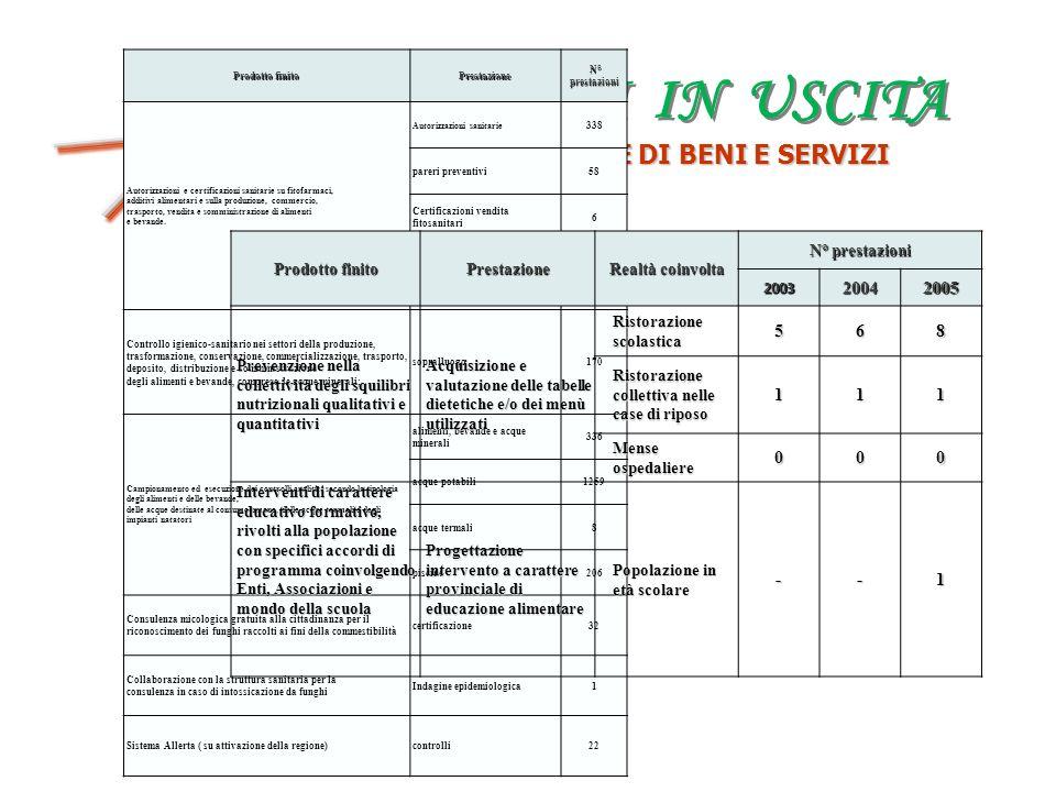 FATTORI IN USCITA PRODUZIONE DI BENI E SERVIZI OUTPUT 2004 2005 5 6 8
