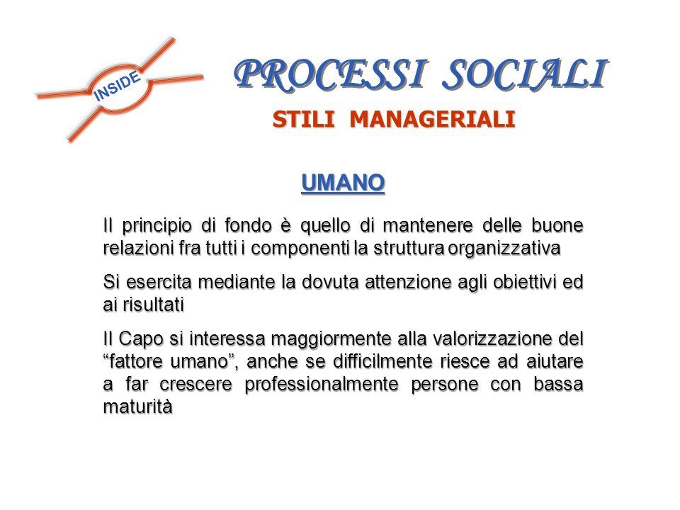 PROCESSI SOCIALI STILI MANAGERIALI UMANO
